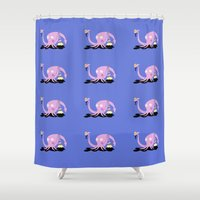onesie Shower Curtains featuring Embarrassed Squid by Joey Elkins