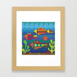 Stylize fantasy fishes under water. Framed Art Print