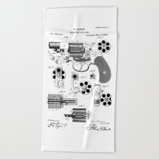 1881 Revolver Patent  Beach Towel