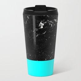 Aqua Blue Meets Black Marble #1 #decor #art #society6 Metal Travel Mug