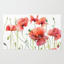 Spring Poppies Papaver Meadow Red Poppies White and Red Watercolor Rug
