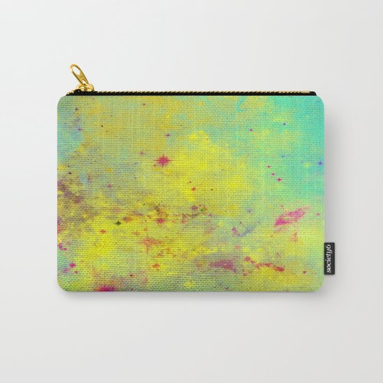 Pink Stars - Abstract space painting in yellow, blue and pink Carry-All Pouch