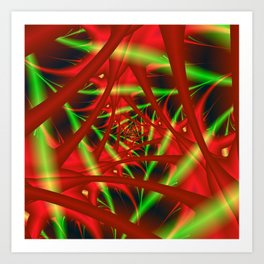 Red and Green Spiral Art Print