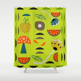 Modern decor with fruits and flowers Shower Curtain