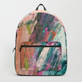 Meditate [2]: a vibrant, colorful abstract piece in bright green, teal, pink, orange, and white Backpack