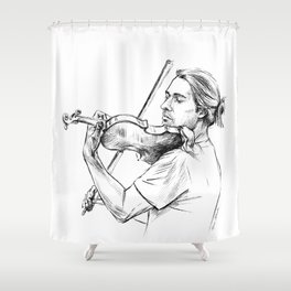 Violinist plays music Shower Curtain
