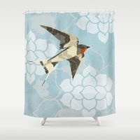 swallow Shower Curtains featuring Swallow by Lorri Leigh Art