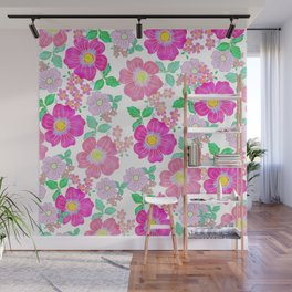 Watercolor fuchsia pink mint green coral flowers Wall Mural