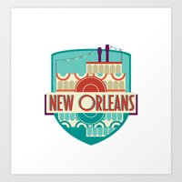 new orleans Art Prints featuring NEW ORLEANS by Fedi