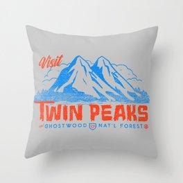 Visit Twin Peaks (orange) Throw Pillow