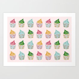 Cute as a multicoloured cupcakes! Art Print