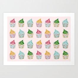 Cute as a multicoloured cupcakes! Art Print