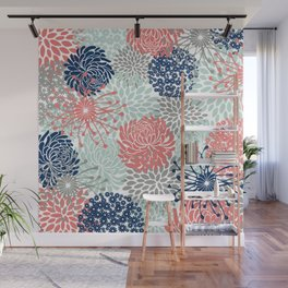 Floral Print - Coral Pink, Pale Aqua Blue, Gray, Navy Wall Mural