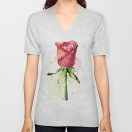 Rose Watercolor Red Flower Painting Floral Flowers Unisex V-Neck