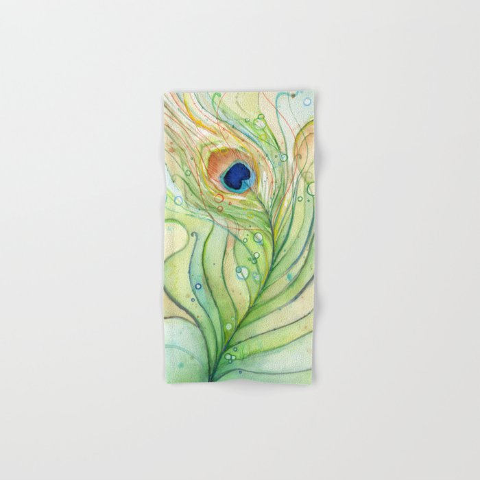 Bath Towel Sets Feather: Green Watercolor Peacock Feather And Bubbles Hand & Bath