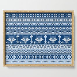 Fair Isle Fox Blue - White Serving Tray