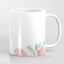 Pink Florals And Mint Leaves Coffee Mug