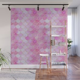 Pink Pearlescent Mermaid Scales Pattern Wall Mural