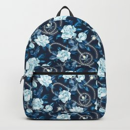 Midnight Sparkles - Gardenias and Fireflies in Sapphire Blue Backpack