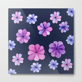 Translucent watercolor flowers with dark background Metal Print