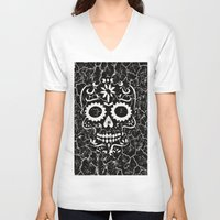 cracked V-neck T-shirts featuring Cracked SKULL by MehrFarbeimLeben