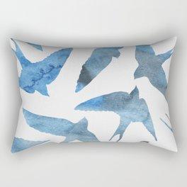 Watercolor birds - sapphire ink Rectangular Pillow