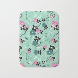 Petite Mint Floral Winter Collection Bath Mat