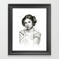 Princess Leia Watercolor Carrie Fisher Portrait Framed Art Print