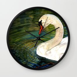 Swan Forming Ripples in a Golden Glow Wall Clock