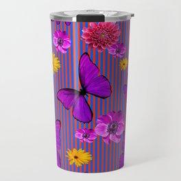 PURPLE BUTTERFLIES ASSORTED FLOWERS Travel Mug