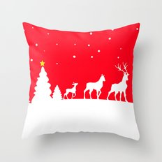 deer family in winter landscape Throw Pillow