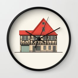 Half-timbered house with red roof Wall Clock