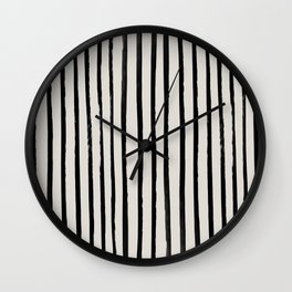 Vertical Black and White Watercolor Stripes Wall Clock