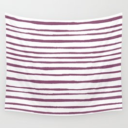 Magenta pink watercolor hand painted stripes Wall Tapestry