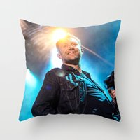 gorillaz Throw Pillows featuring Damon Albarn (Blur) - II by Tomás Correa Arce (RockMe TommyBoy)