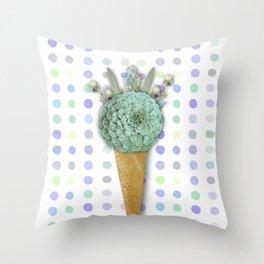 SUCCULENT CACTUS ICE CREAM Throw Pillow
