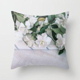 White Jasmin Throw Pillow