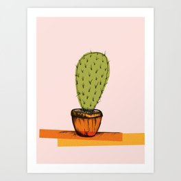 Colored Cactus on rose background Art Print