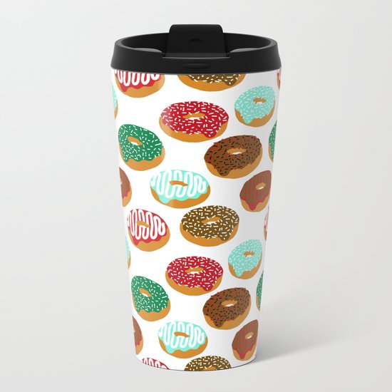 Christmas festive donuts holiday dessert junk food foodie pattern print red and green Metal Travel Mug