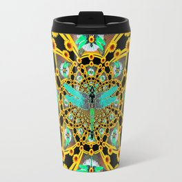 BLUE DRAGONFLIES YELLOW-BLACK GEOMETRIC ART Travel Mug