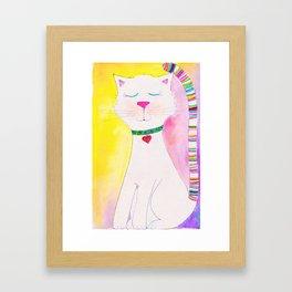 rainbow kitty on blanc Framed Art Print