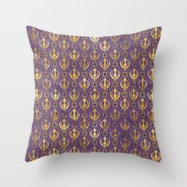 Golden Khanda pattern on violet Throw Pillow