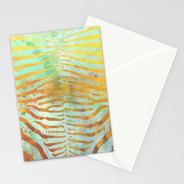 Zebra Stripes   Celadon & Gold   Watercolor Animal Print Art Stationery Cards