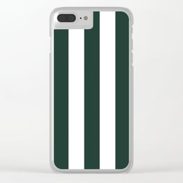 Medium jungle green -  solid color - white vertical lines pattern Clear iPhone Case