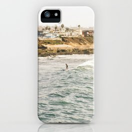 Braving the Surf Mission Beach San Diego California iPhone Case