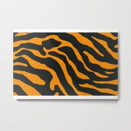 Tiger Skin Pattern Dark Orange Metal Print