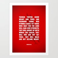 bible verses Art Prints featuring Typographic Motivational Bible Verses - Isaiah 40:30 by The Wooden Tree