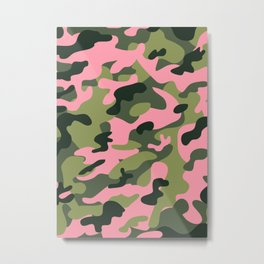 Green & Pink Camo Metal Print