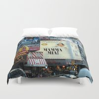 broadway Duvet Covers featuring Mamma Mia Broadway New York painted Photorealism by Premium