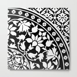 Indian Black and White Floral Geometric Pattern  Metal Print